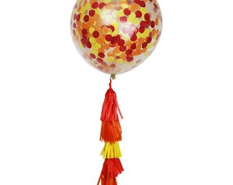 """Just Artifacts 36"""" Jumbo Clear Balloon w/ Tissue Tassels & Confetti (Colors: Orange, Red, Yellow)"""