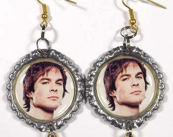 25% OFF SALE Ian Somerhalder Earrings - 1 Pair - With Double Star Charms Vampire Diaries Damon