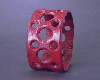Holy Cuff! Hand tooled leather cuff in Blood Red - Size 7""