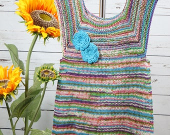 Colorful cotton knit dress, young girl summer turquoise dress, 6-8T, multi colored jumper, handknit dress,