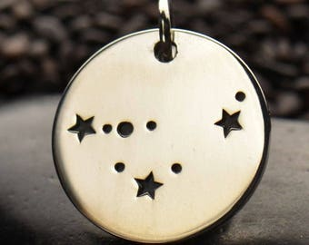 Sterling Silver Capricorn Constellation Charm. Zodiac Contellation Charm. Capricorn Charm.