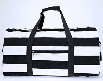 Black and White Stripe Round Duffel Bag with Embroidery for summer camps, family trips, birthday gift, back to school, field trip