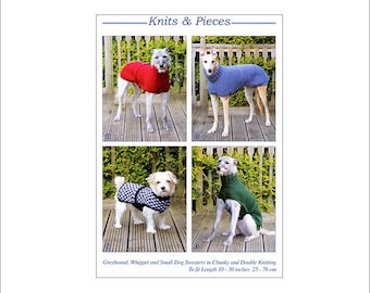 Hand Knitted Coats Greyhounds Whippets and Small Dogs, Knits and Pieces knitting pattern, dog coat, knitted dog coat pattern