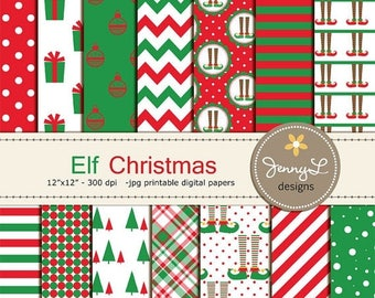 50% OFF Elf Christmas Digital Papers, Christmas Tree Papers, Christmas gifts, Holiday Digital ScrapbookingPaper, Red and Green Christmas