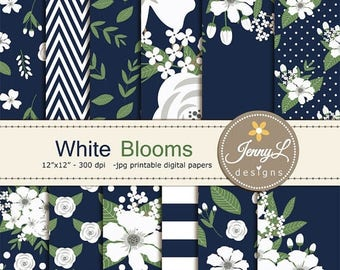 50% OFF White Floral digital paper,  Navy Blue Wedding Flower Paper Digital scrapbooking, invitations, birthday, wedding, Planners
