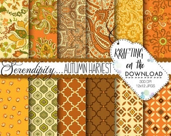 thanksgiving paper pack fall paper pack autumn paper pack harvest paisley digital paper thanksgiving digital paper pack rich harvest colors