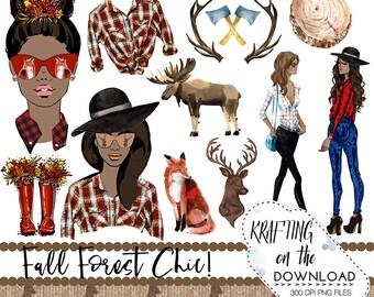 lumberjack clipart set watercolor fall medium skin tone planner girl clip art set watercolor fall fashion clipart png files autumn clipart