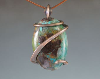 Chrysocolla Oval Cold Forged Copper Pendant