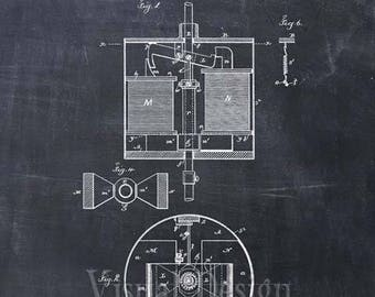 Tesla Electric Arc Lamp Patent Print Tesla Art Print