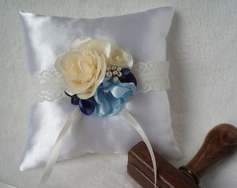 Clarissa handmade blue-colored wedding bridal bearer ring pillow with rose and fantasy flowers