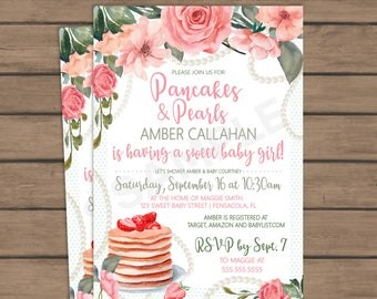 Pancakes and Pearls Baby Shower Invitation- Pink, green, flowers - Baby shower brunch - Girl - Unique Brunch - Breakfast - vintage