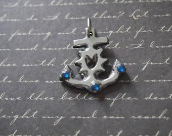 Blue 28x30mm rhinestone anchor charm