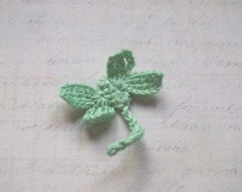 Green Dragonfly crochet - applique for sew 4x4cm