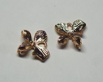 2 connectors flower / Orchid goldtone 16x15mm