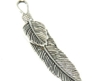 57x12mm silver metal feather charm