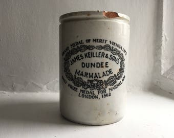 No1 Large 2lb James Keiller Antique Dundee Marmalade White Ironstone Jar London 1880's