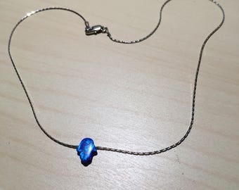 Sterling Silver 925 Necklace with Blue Gem Bead