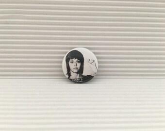 jane fonda, feminist pin, 1 inch pin back button, jane fonda mug shot pin