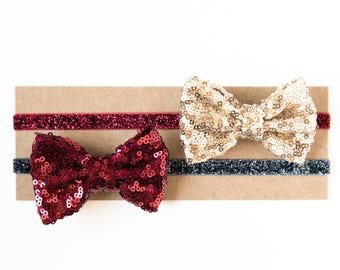 Holiday Sequin Bow Headbands |  Big Metallic Sequin Bow Elastic Headband for Baby Toddlers Girls Adults, Winter Christmas Holiday
