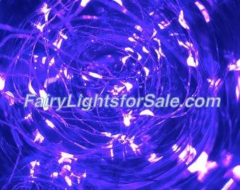 2m/6.6ft 5+ sets Purple 20 LED fairy light string strand button battery for DIY, centerpiece, wedding, costume, rave, EDM, event