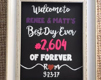Chalkboard frame Personalised Welcome to <name> and <name> Best day ever # of forever wedding decor sign plaque Customised Bespoke