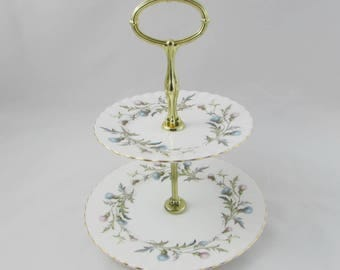 "Royal Albert Cake Stand, ""Brigadoon"" Thistles, Vintage Bone China, Small Cakestand, Two Tier Cake Stand"