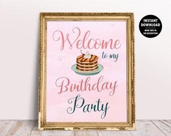 Pancakes and Pajamas Printable, Breakfast Party Sign, Pancakes Party Printable, Breakfast Birthday Party, Sleepover Birthday Printable