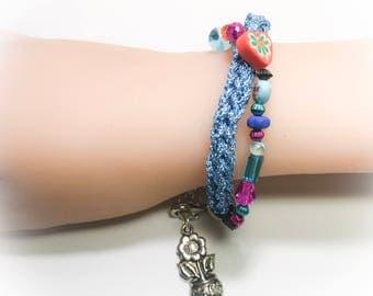 Crochet beaded bracelet,beaded bracelet,blue beaded bracelet,tassel bracelet,fiber bracelets,boho bracelets,gypsy bracelets,gifts for teen,