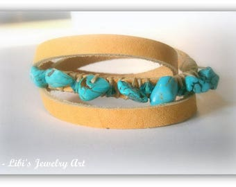 hand-made Leather Bracelet with Turquoise Gemstones: Bracelet wraps around wrist - young and fashionable look - Great gift for a young woman