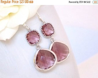 SALE Wedding Jewelry, Plum Earrings, Burgundy, Eggplant, Purple, Gift, Bridesmaid Jewelry, Dangle, Drop, Wedding Gifts, Silver, Bridesmaids