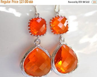 SALE Wedding Jewelry, Orange Earrings, Silver,Tangerine, Carnelian, Bridesmaid Gift, Bridesmaid Jewelry, Dangle, Brides Gifts