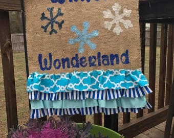 Winter Wonderland Burlap Garden Flag