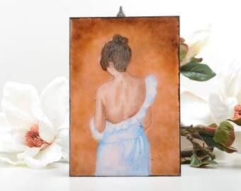 Enamel artwork, sensual artwork, sensual portrait, sensual bedroom decor, female back portrait,small enamel portrait, enamel women art