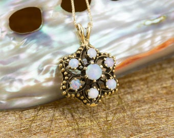 Vintage Opal Cluster Pendant in Yellow Gold