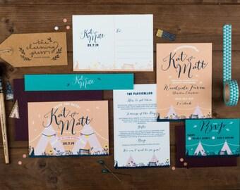 Teepee Wedding Invitation  - Minimum order of 25