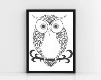 Tribal Owl Print, Wall Art - Original Ink Design