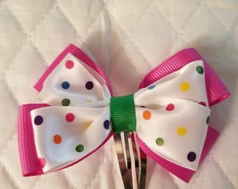 Multi color polka dot hair clip