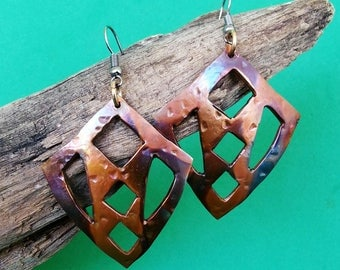 Handmade Copper Shield Earrings