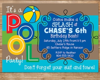 Pool Birthday Party Invitation, Boys Swimming Party, Water Party, Swimming Pool, Indoor Pool Party, Printable, DIY, Personalized