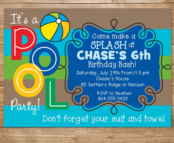 Pool birthday party invitation boys swimming party water - How to make a pool party ...