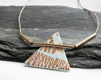Triangle pendant necklace, Boyfriend gift, Geometric pendant necklace, Clay pendant necklace, Geometric jewellery, Modern handmade necklace