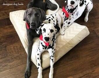 Dog Bed, Chevron Dog Bed, Canvas Dog Bed, Rectangle Dog Bed, Lounger Dog Bed, Thick Dog Bed, Beige Dog Bed, Pet Bed, Designer Dog Bed