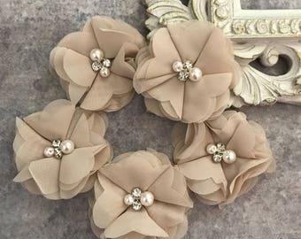 Chiffon flowers, pearl and rhinestone flowers, headband flowers, fabric flowers, material flowers, lace flowers, supply flowers, tan flowers