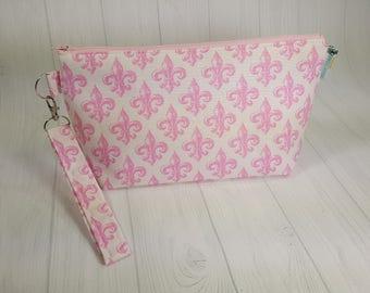 Pink Fleur de Lis Knitting Project Bag - Zippered Wedge Bag, Zipper Knitting Bag, Cosmetic Bag, Sock Knitting Bag WS0069