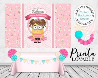 PRINT IT YOURSELF Girl Minion Party Backdrop digital file, Princess Minion Party Backdrop, Minion Party Decor, Pink Minion Party printable
