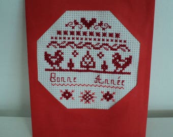 Embroidered cross stitch red happy new year card