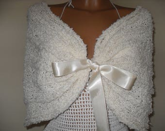 Bridal coat, Wedding knetted bolero, Bridal coat, Ivory coat, White bridal coat.Soft wool.