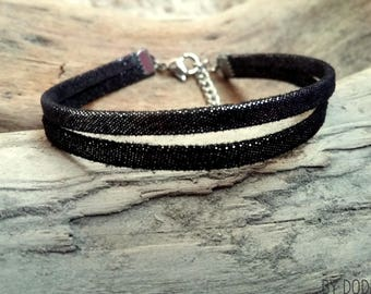 Leather bracelet black 2 links shining Boho jewelry By Dodie