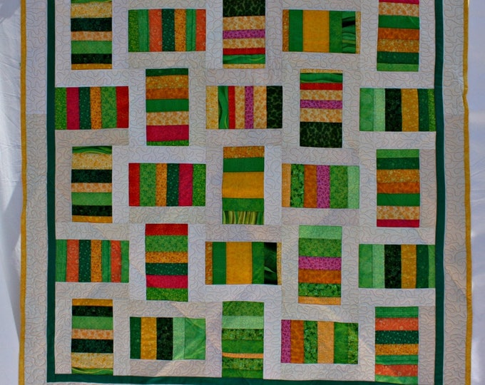Featured listing image: Green Quilt, Modern Quilt, Yellow Quilt, Lap Quilt, Lap Throw,  Picnic Blanket