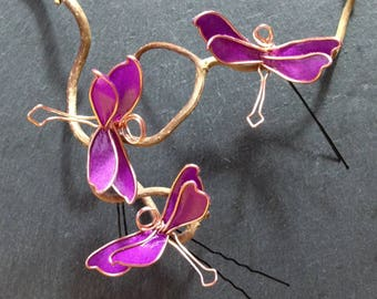 Purple Dragonfly jewelry set of three hairpins in copper